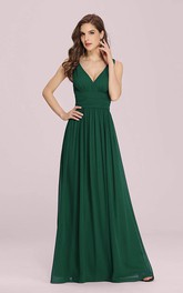 Casual Chiffon V-neck A Line Sleeveless Evening Dress With Ruffles