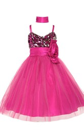 Sleeveless A-line Sequined Dress With Spaghetti Straps