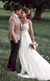Lovely Simple Beach Lace Appliqued Cap Sleeves Chiffon Wedding Dress