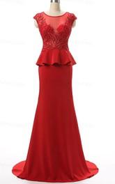 Cap Sleeve Chiffon Dress With Beading&Embroideries&Peplum