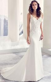 V-Neck Floor-Length Appliqued Chiffon Wedding Dress With Court Train And V Back