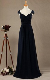 Lace Cap Sleeve A-line Chiffon Long Dress With Back Keyhole