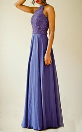 Halter Chiffon Dress With Beading