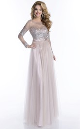 Sequined Bodice A-Line Tulle Prom Dress With Keyhole Back And Long Sleeve