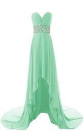 Asymmetrical Sweetheart Ruched A-line Dress With Crystal-beaded Band