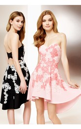 High-Low A-Line Sleeveless Sweetheart Appliqued Jersey Cocktail Dress
