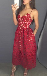 Spaghetti Straps Ankle-Length Prom Dress