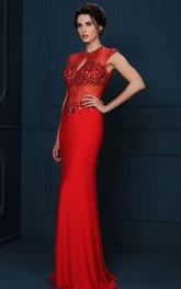 Sheath Floor-Length Crystal Cap-Sleeve Jewel-Neck Jersey Evening Dress