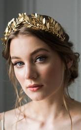 Western Style Vintage Handmade Laurel Olive Gold Hair Hoop Crown