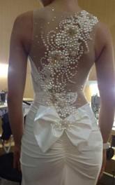 Jewel Sleeveless Ruched Mermaid Jersey Dress