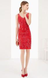 V Neck Sheath Knee Length Prom Dress With Beaded Embroidery And V Back