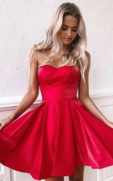 Satin Short A Line Sleeveless Simple Homecoming Dress with Pleats