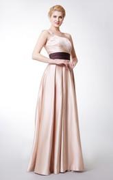 Elegant One-sided Soft-ruched Banded Long Satin Bridesmaid Dress