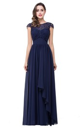 Elegant Chiffon Lace A-line 2018 Prom Dress Bowknot Cap Sleeve