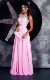 A-line Floor-length High Neck Sleeveless Jersey Lace-up Dress