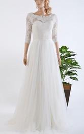 3-4 Length Sleeve Tulle Satin Lace Bolero Wedding Dress
