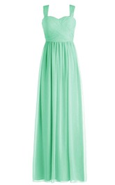 Simple Straps Sweetheart Side-drappping Chiffon A-line Gown