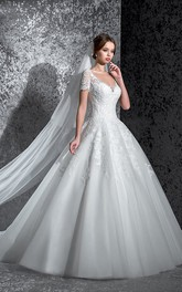 Ball Gown Long V-Neck Short-Sleeve Keyhole Lace Dress With Appliques
