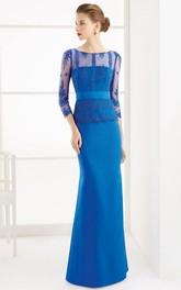 Sheath Appliqued 3-4-Sleeve Floor-Length Scoop-Neck Satin Prom Dress With Beading