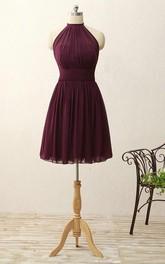 A-line Short Halter Zipper Chiffon Dress