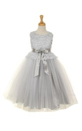 Scoop Neck Sleeveless Lace Tulle Ball Gown With Satin Sash