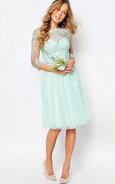 Knee-Length Appliqued Bateau Neck 3-4 Sleeve Tulle Bridesmaid Dress