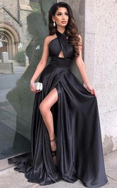 Elegant Satin A Line Halter Sleeveless Prom Dress With Criss Cross Split Front