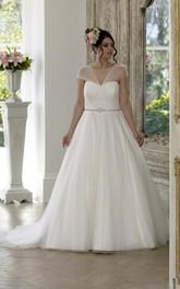 A-Line Floor-Length V-Neck Cap Tulle Satin Court Train Lace-Up Back Waist Jewellery Dress