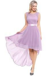 Bateau A Line Sleeveless High-Low Chiffon Bridesmaid Dress With Sash/Ribbon