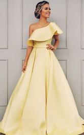 Satin Floor-length Sweep Train A Line Sleeveless Modern Formal Dress with Ruffles