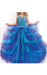 Flower Girl Princess Ruffled Organza Ball Gown With Crystals