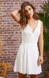 Adorable V-neck Chiffon Lace A Line Sleeveless Short Backless Wedding Dress