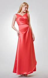 Cap Sleeve Ruched Trumpet Chiffon Dress With Keyhole