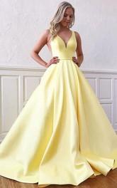 Satin Floor-length Brush Train A Line Sleeveless Modern Formal Dress with Ruffles