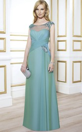 Cap-Sleeve Maxi Scoop-Neck Ruched Satin Formal Dress With Beading