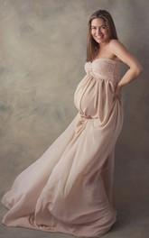 Chiffon Lace A-line Sleeveless Sweetheart Maternity Dress