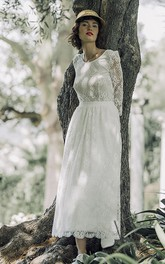 Long Sleeve Vintage Tea-length Lace Wedding Dress With Scoop Neck And V-back