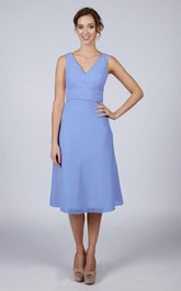 V Back V Back A-line Chiffon Short Dress Kingfisher Blue