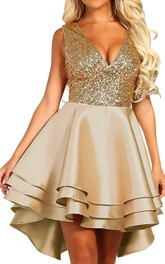 Satin Sequins High-Low Ball Gown Sleeveless Homecoming Dress with Ruffles