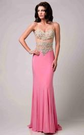 Rhinestone Bodice Sheath Long Prom Dress With Spaghetti Straps