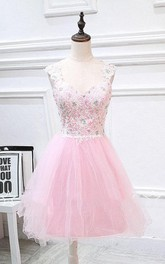 Mini Tulle&Lace A-line Dress With Beading And Appliques