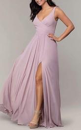 V-neck A Line Sleeveless Floor-length Chiffon Bridesmaid Dress With Split Front