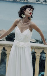 Ethereal Sheath Chiffon Spaghetti Deep-V Back Long Wedding Dress