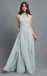 Sleeveless Chiffon V-Neck Dress With Crisscross Ruching