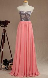 Long Sweetheart Chiffon&Satin Dress With Sequins