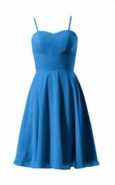 Sleeveless Spaghetti Strap Knee-length Pleated Chiffon Dress