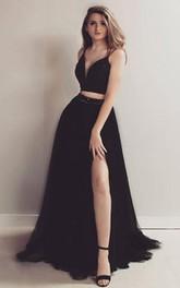 Satin Tulle Floor-length Sweep Train Two Piece Sleeveless Informal Evening Dress