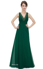 Sleeveless V-neck A-line Beaded Chiffon Gown