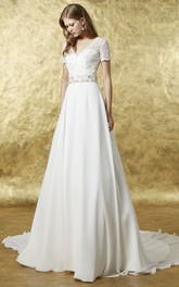 A-Line Maxi Lace V-Neck Short Sleeve Chiffon Wedding Dress