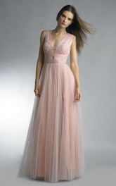 A-line Floor-length V-neck Sleeveless Tulle Keyhole Dress
